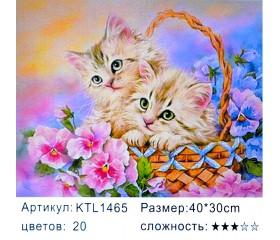 """Картина по номерам 30x40 """"Котята в корзинке"""" KTL1465"""