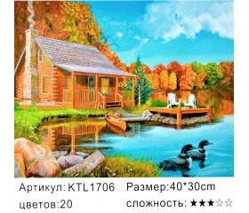 """Картина по номерам 30х40 """"Домик на озере"""" KTL1706"""