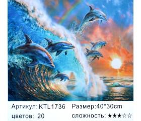 "Картина по номерам 30х40 ""Дельфины"" KTL1736"