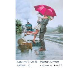 "Картина по номерам 30х40 ""Двое под зонтом"" KTL1848"