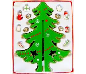 Набор «Ёлка» с деревянными ёлочными игрушками 12 pcs
