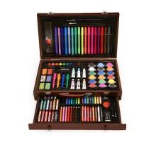 Набор для рисования в деревянном чемоданчике с выдвижным ящиком 123 предмета