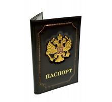 """Обложка для паспорта """"Герб"""" черная"""