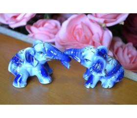 """Набор фигурок фарфор """"Два слоника"""" синий"""