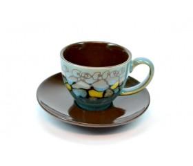 Набор кофейный: 6 чашек D=6см, В=5см с блюдцами D=10,5см