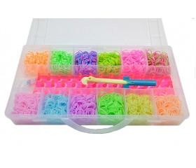 Набор для плетения в пласт.боксе: 2400 резинок, станок, крючок, s-клипсы