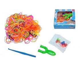 Набор для плетения браслетов мини: 300резинок, рогатка, крючок, клипсы