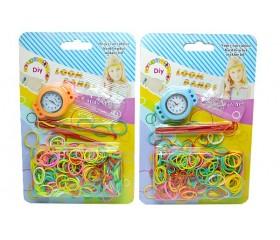 Набор для плетения браслетов в блистере: 300резинок, мех.часы, 2крючка, клипсы