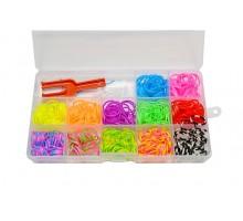 Набор для плетения браслетов в боксе: 450 резинок, крючок, рогатка, клипсы