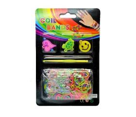 Набор для плетения браслетов в блистере: 200резинок, крючок, клипсы, подвески