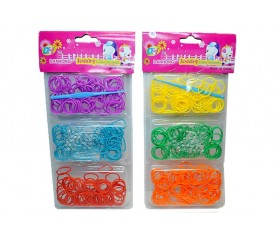 Резинки для плетения браслетов в блистере однотонные (240шт) +крючок, клипсы