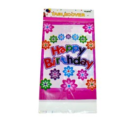 "Скатерть ПВХ ""Happy Birthday"" с цветами"