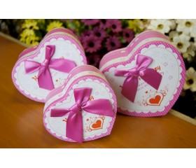 """Набор из 3х коробок в форме сердца """"Розовый бант"""""""