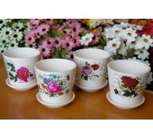 Кашпо для цветов с поддоном керамика