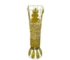 Ваза плетеная с золотом 4-гранная