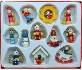 Набор деревянных ёлочных игрушек 12pcs