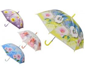 """Зонт-трость полуавтомат """"Бабочки и вьюнки"""""""
