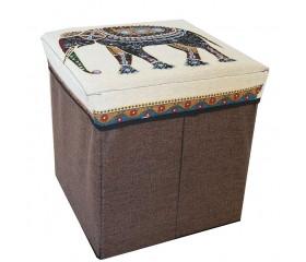 Пуфик/ёмкость для хранения 4-угольный «Слон» 31х31см