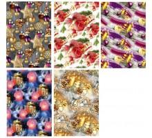 Бумага 100х70см «Новогодняя» №5 ламинат ассорти