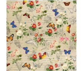 Бумага 100*70 Дизайнерская бумага  «Бабочки Ретро»