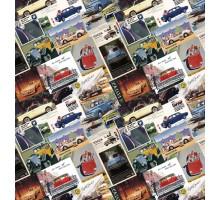 Бумага 100*70 Дизайнерская бумага  «Ретро Машинки»