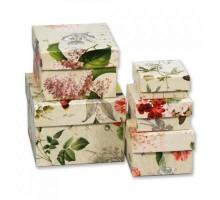 Набор коробок Цветы ретро.Мал. квадрат. 5шт