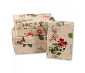Набор коробок Прямоугольные Цветы Ретро 3шт