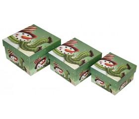Набор из 3-х коробок квадратных «Снеговик в шарфике»