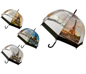 Зонт-трость полуавтомат с прозрачными клиньями «Эйфелева башня» D купола 90см