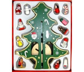 Набор «Ёлка» с деревянными ёлочными игрушками