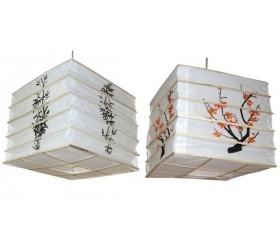 Абажур из бамбука и рисовой бумаги «Куб»